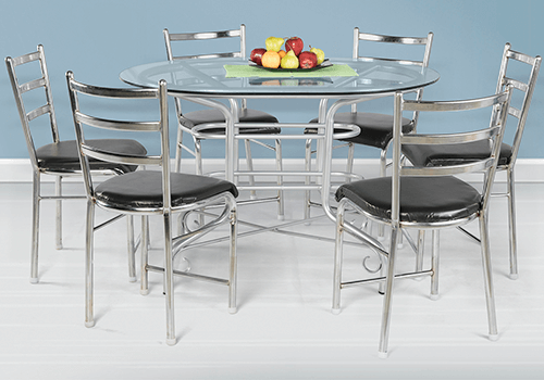 Glass top 6 seater dining table