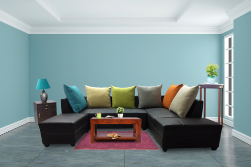 Brand New Rexine 5 Seater L Shape Sofa - Chocolate Brown