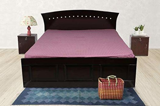 Brand New Wooden Queen Size Double Bed with Storage Box (Glossy Finish, Walnut Color)