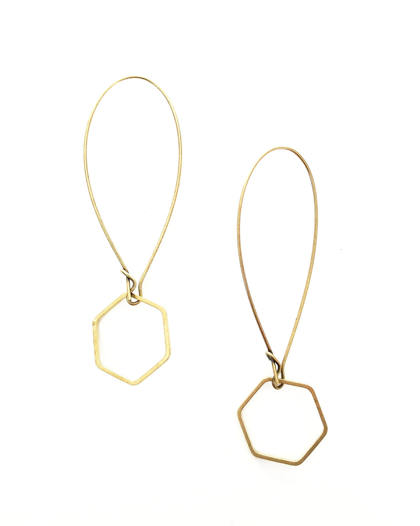 Esther Mini Brass Earrings - Open Hexagon