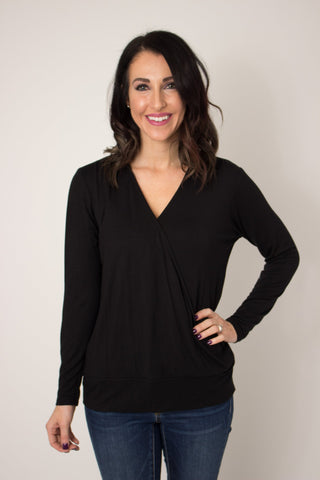 Faux Wrap Pullover - Black