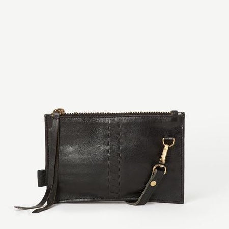 Kyra Indian Lace Leather Crossbody Wallet - Black