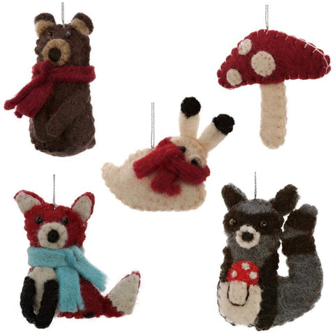Felt Woodland Animal Ornaments - Mushroom