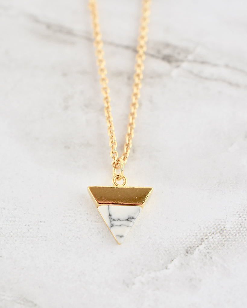 Lucy Necklace - White Triangle