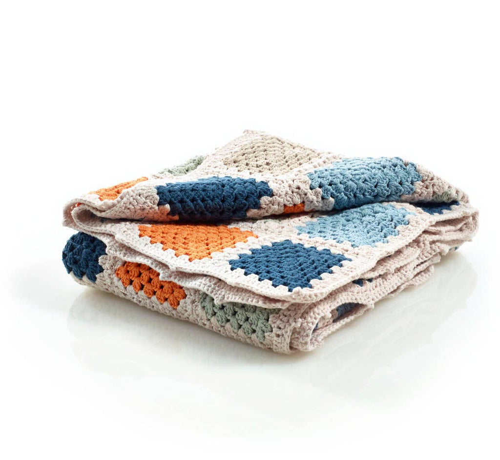 Pebble - Blue Organic Granny Square Blanket