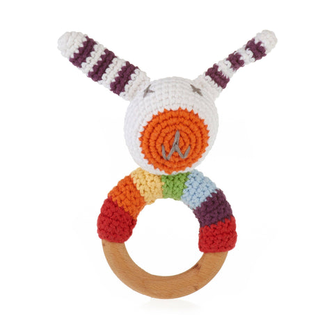Pebble - Rainbow Bunny Wooden Ring Rattle