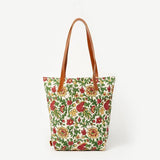 Prisha Holiday Flowers Leather Handles Cotton Tote Bag
