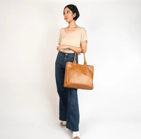 Heena Camel Leather Tote