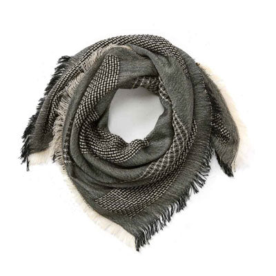 Black and White Square Wool Scarf