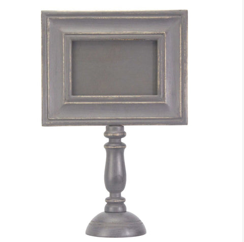Hand-Carved Tall Pedestal Frame - Gray