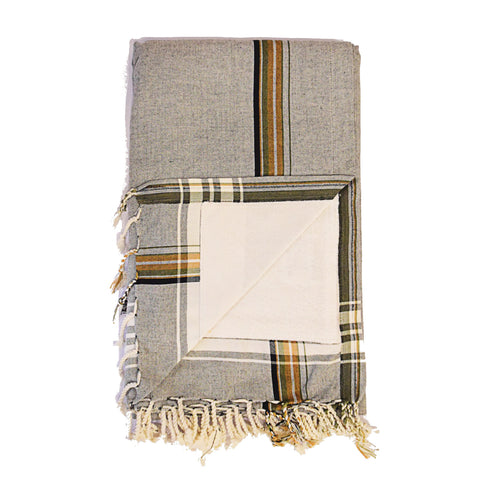 Swahili Coast - Grey Kenyan Beach Towel with Pocket