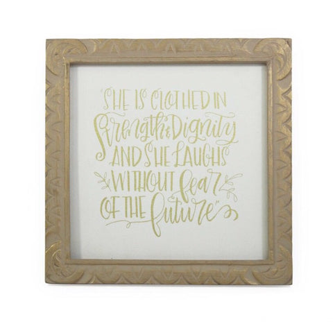 Hand Carved Mango Message Frame - Gold