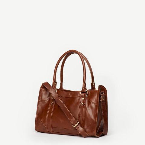 JOYN Sarita Brown Leather Handbag- Mid Century Mod (Local Pickup/ Local Delivery Only)