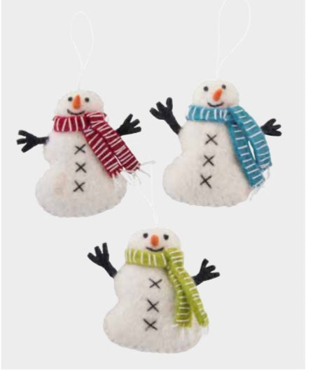 Christmas Ornament - Snowman with Scarf