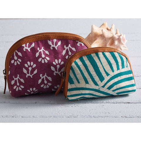 Batik Zip Pouch- Teal Striped