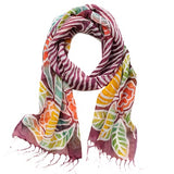 Plum Painted Floral Scarf