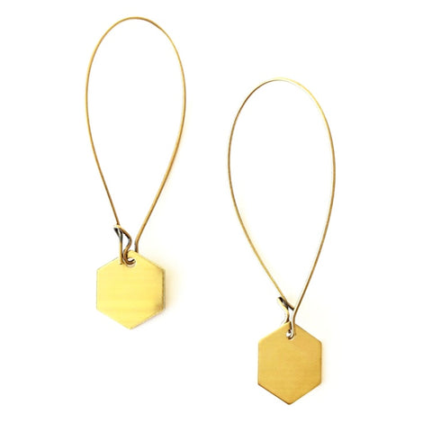 Esther Mini Brass Earrings - Solid Hexagon