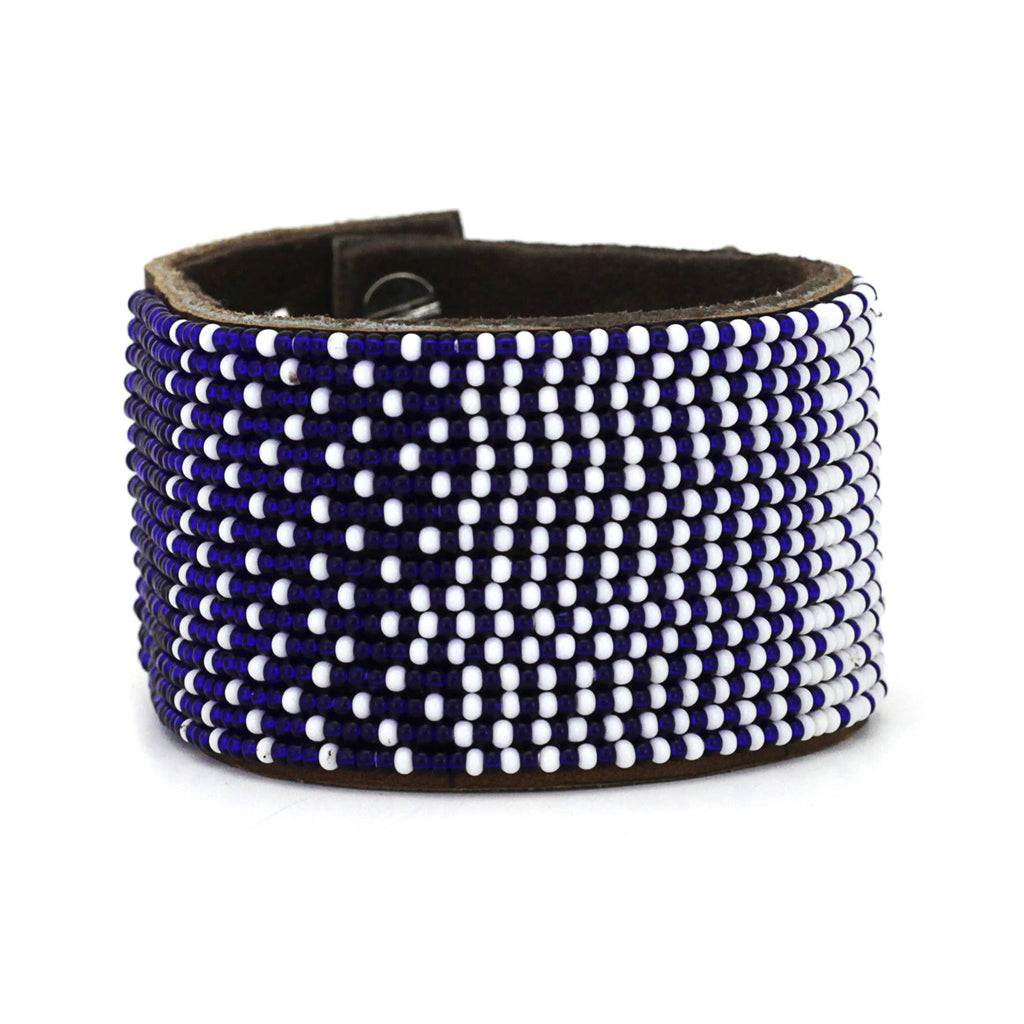 Swahili Coast - Large Dark Blue and White Ombre Cuff