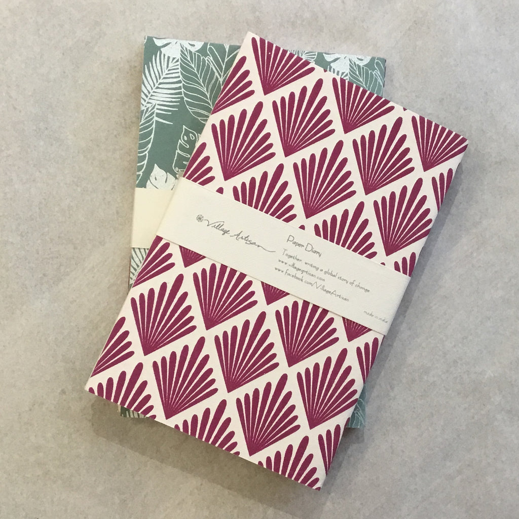 Paper Diary Set of 2 - Plum Print