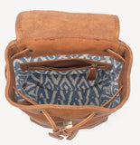 Mini Fold-over Backpack in Light Brown - Blue Ikat