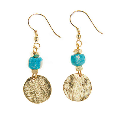 Blue Sari Bead and Brass Earrings