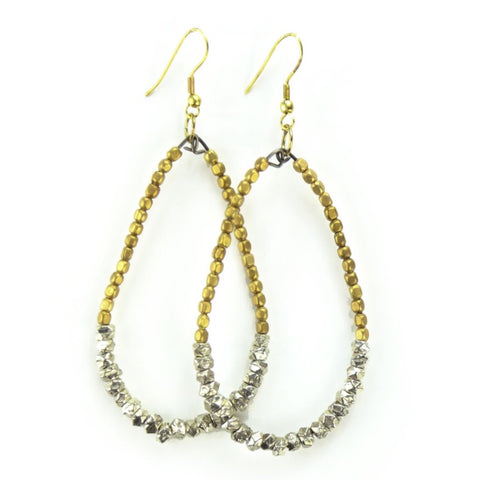 Raindrop Silver and Gold Beaded Earrings