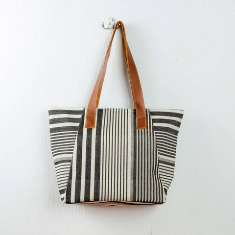 Black and White Tote With Leather Straps