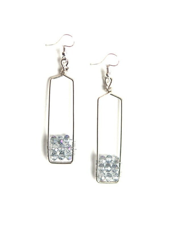 Silver Stairwell Glass Earrings - Peru