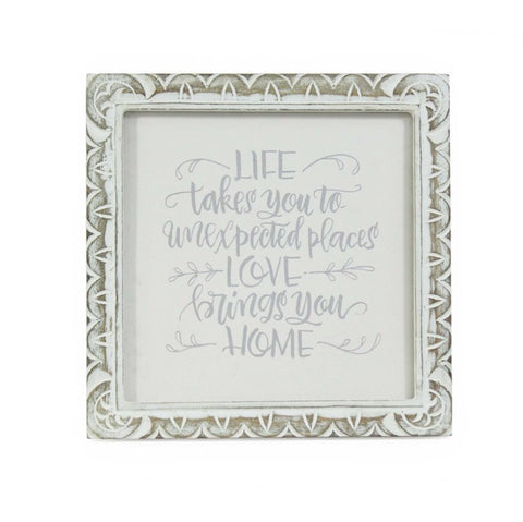 Hand Carved Mango Message Frame -  White