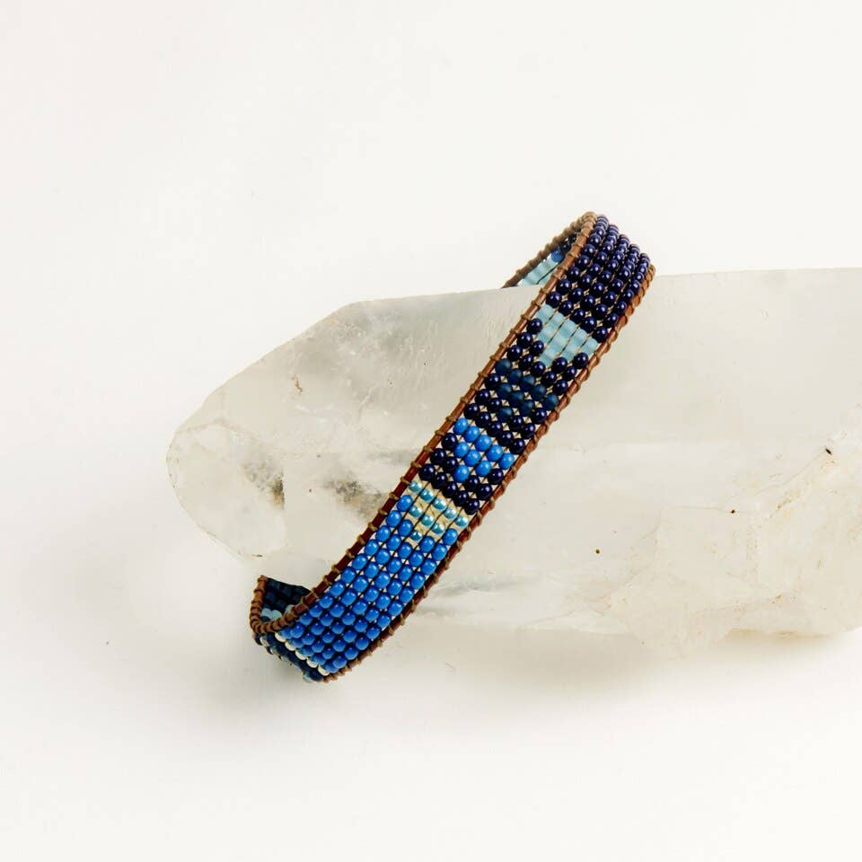 Beaded Arrow Bracelet- Blue