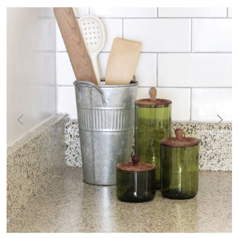 Tall Zanzibar Recycled Glass Canister - Green