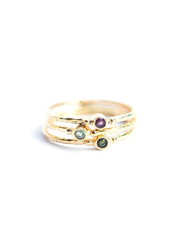Tiny Stone Gold Stacking Ring Set- Tourmaline