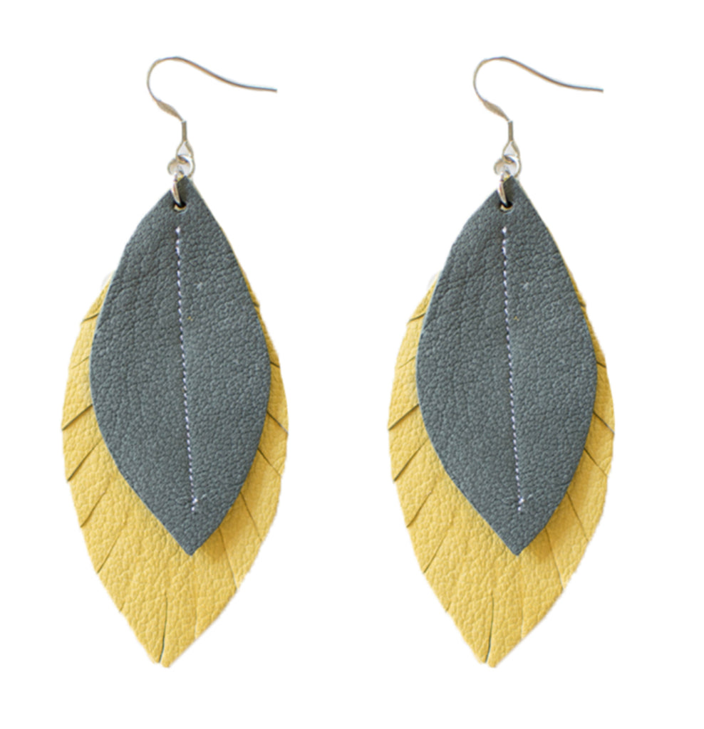 Two-Tone Feather Earrings
