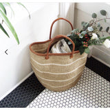 "15"" Khaki and White Sisal Basket (Local Pickup/Local Delivery Only)"