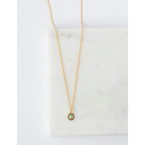 Turquoise Starburst Necklace - 14k Gold