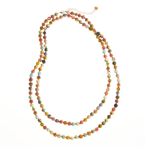 Long Multi Sari Bead Necklace