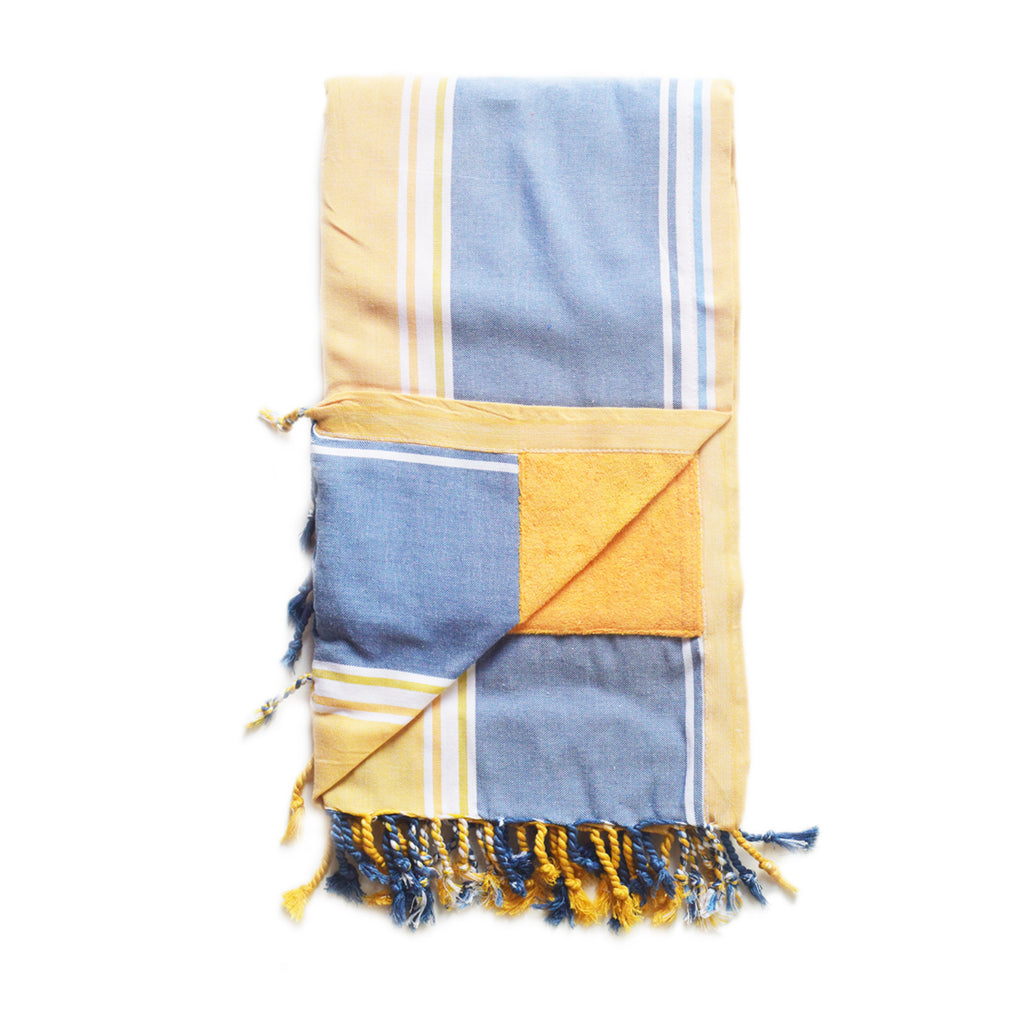 Swahili Coast - Yellow and Navy Stripe Kenyan Beach Towel with Pocket