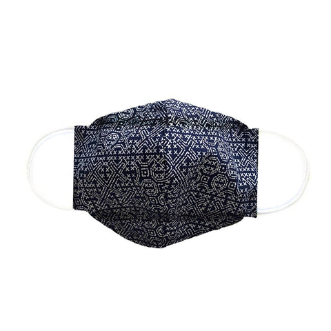 Lotus and Luna - Navy/White Batik Cotton Origami Face Mask