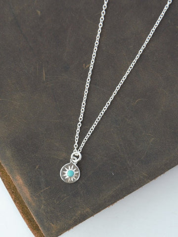 Tiny Stone Starbust Necklace - Sterling Silver