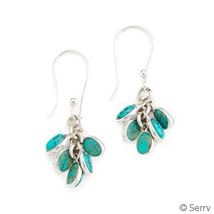 Aqua Cluster Earrings