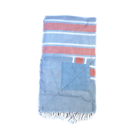 Swahili Coast - Blue and Melon Kenyan Beach Towel with Pocket