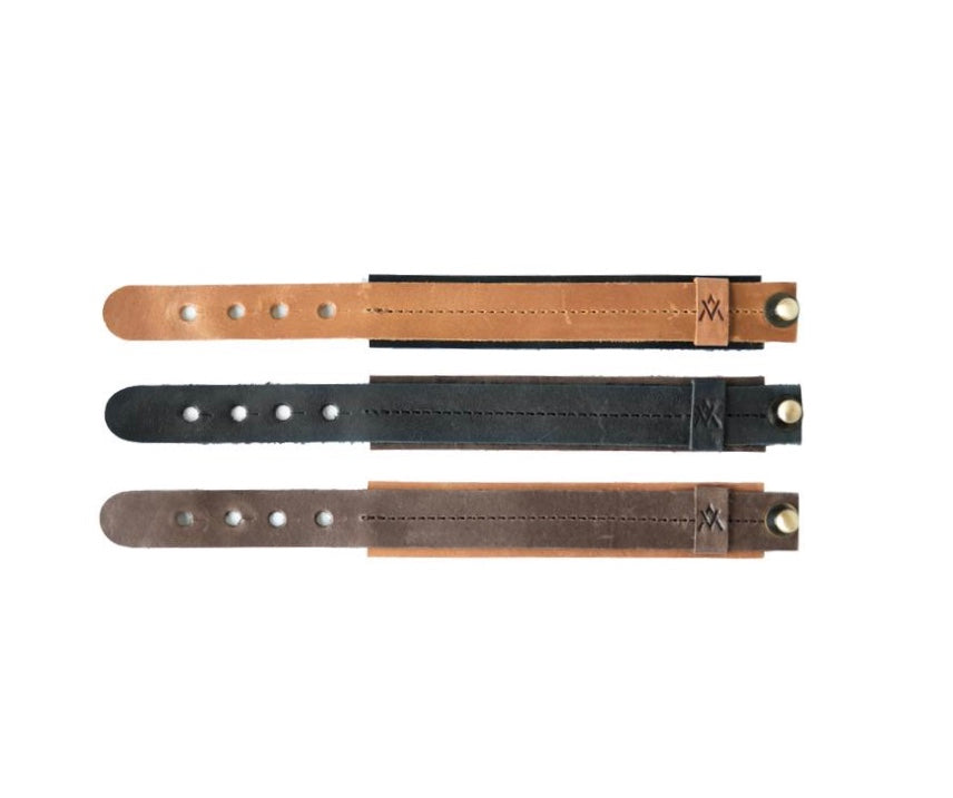 Two Tone Leather Bracelet - Black/Brown