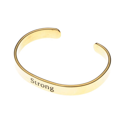 "Inspirational Cuff Gold - ""Strong"""
