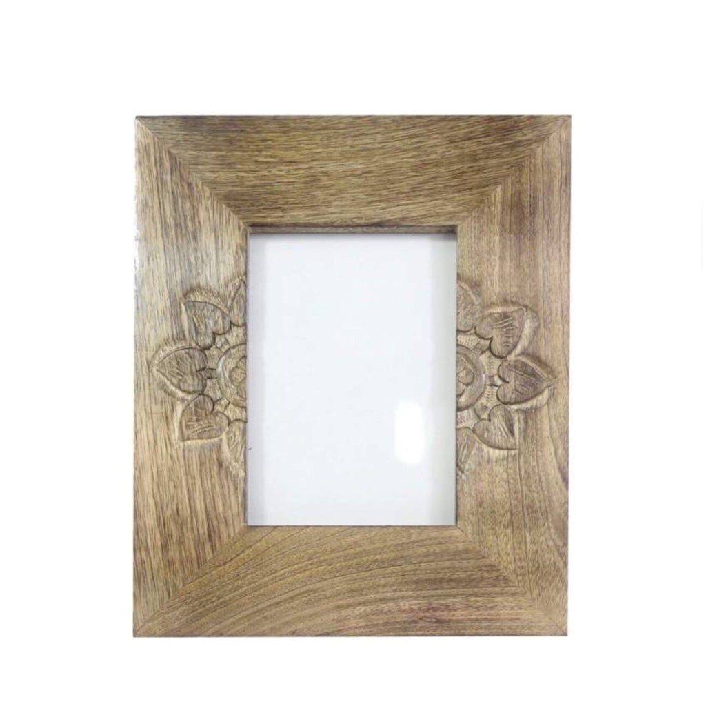 Hand Carved Mango Wood Frame-Half Flower Small