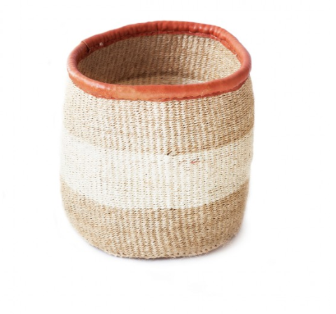 Khaki and White Eight-Inch Basket