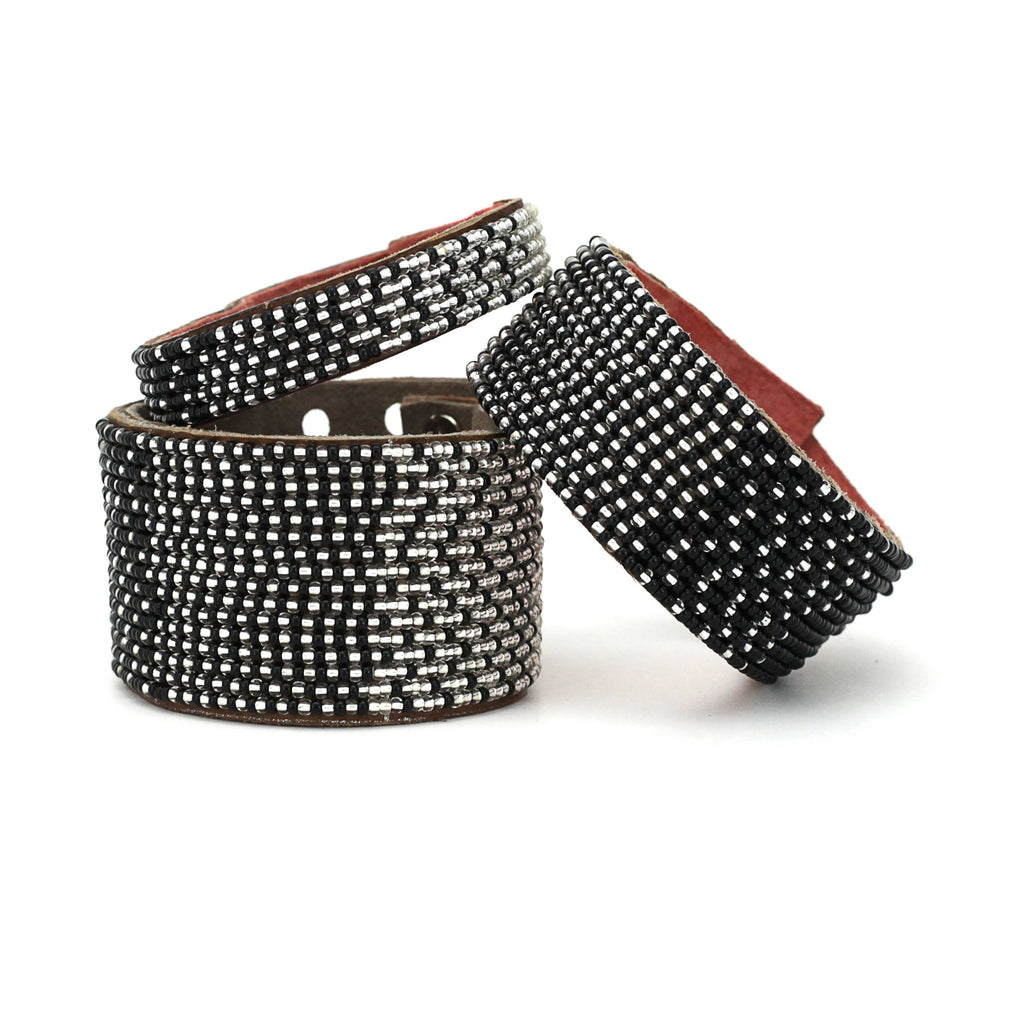 Swahili Coast - Large Black and Silver Ombre Leather Cuff