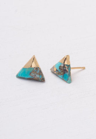 Starfish Project, Inc - Ezra Triangle Turquoise Stud Earrings