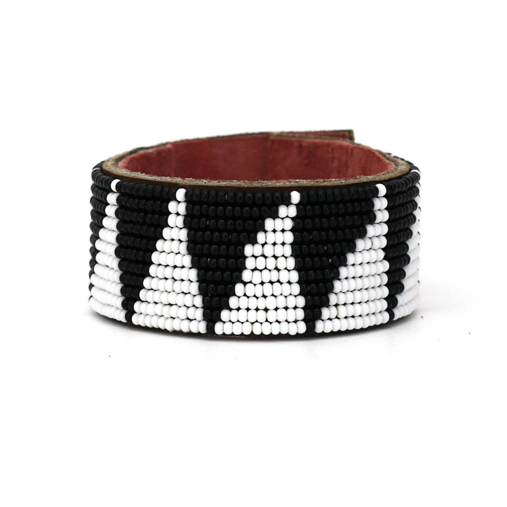 Swahili Coast - Medium Black Tri Leather Cuff