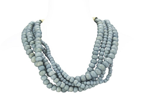 Horn Clasp Bone-Bead Necklace