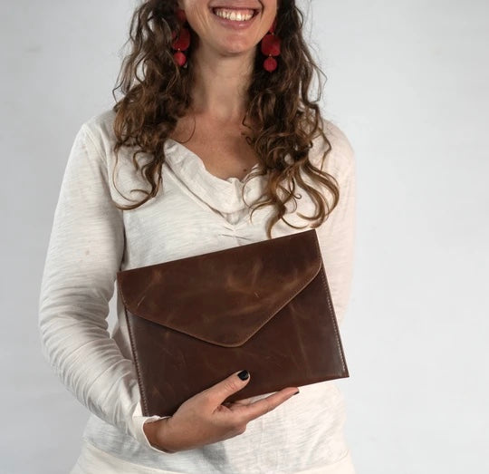 Kamala Brown Leather Clutch
